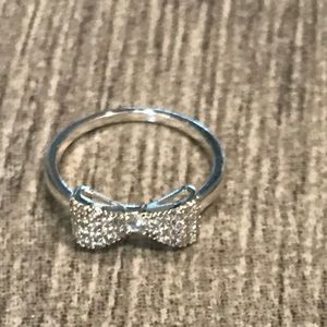 Dillard's silver ring with pave bow